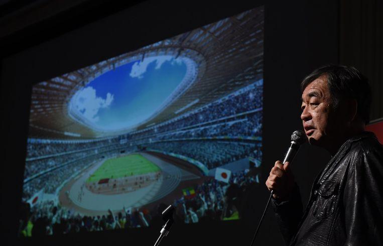 De Japanse architect Kengo Kuma toonde op 22 december zijn ontwerp voor het stadion. Beeld afp