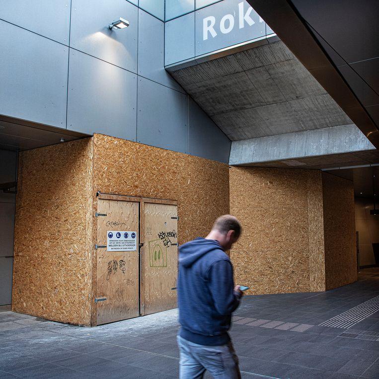 De plek in station Rokin waar over twee maanden de toegang naar Adyen wordt doorgebroken. Beeld Guus Dubbelman / De Volkskrant