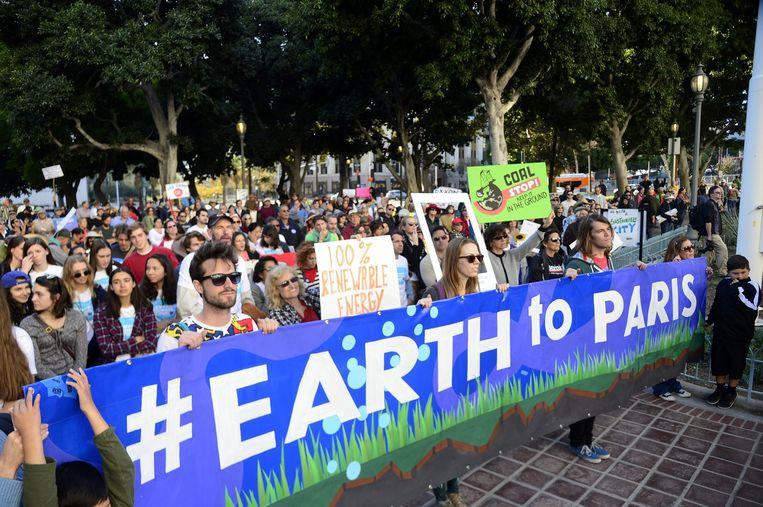 Klimaatdemonstratie in Los Angeles zondag. Beeld epa
