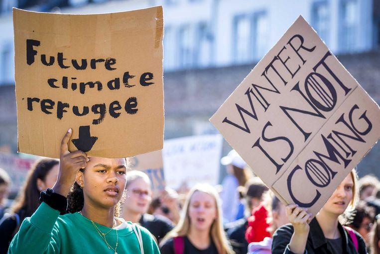 Demonstranten lopen in een klimaatmars door Maastricht. Beeld null