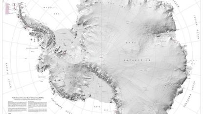 Nieuwe kaart Antarctica legt alle geheimen van het continent verbluffend gedetailleerd bloot