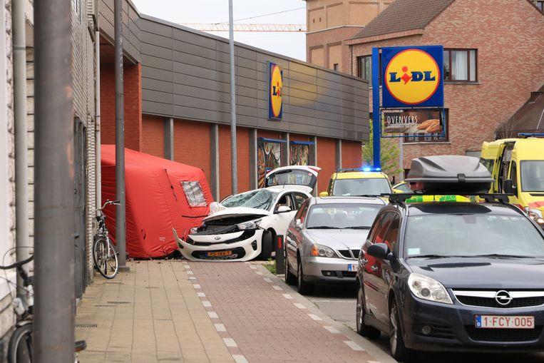 Beeld van het dodelijke ongeval in Sint-Niklaas.