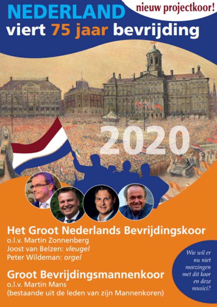 Het affiche van het Groot Nederlands Bevrijdingskoor.