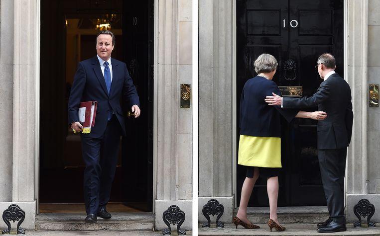 David Cameron stapt op na het brexit referendum (L). Theresa May gaat lopen met het premierschap en doe haar intrede in Downing Street 10 (R).