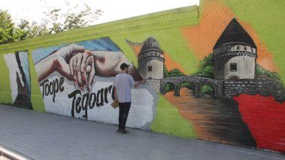 Graffitikunstwerk als ode aan verbondenheid tijdens corona op woonzorgcentrum De Pottelberg