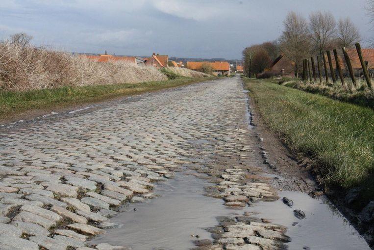 De kasseistrook in de Steenstraat op de grens van Houthulst en Diksmuide.
