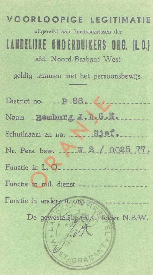 Identiteitsbewijs van Jo Hamburg, alias verzetsleider Sjef.