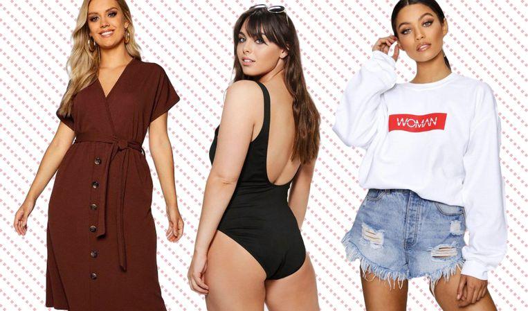 Dit zijn de modellen die op de site van Boohoo de plussize collectie promoten.