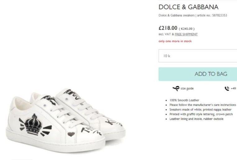De schoentjes van de kleinste McGregor kosten 245€.