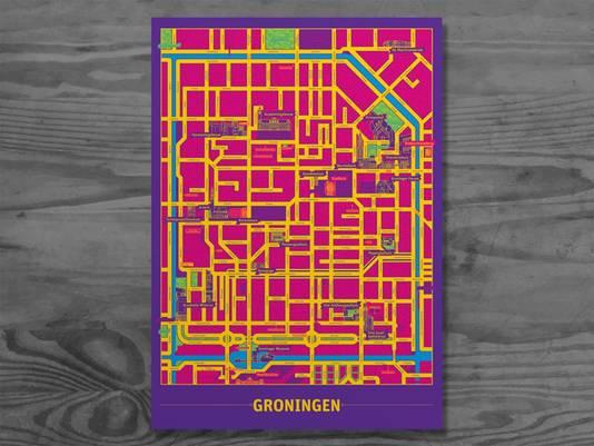 Ook van Groningen maakte Van den Brink een metromap.