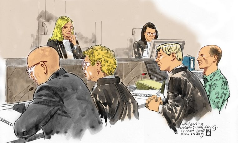 Illustratie van Volkert van der G.  in de Haagse rechtbank. Beeld ANP