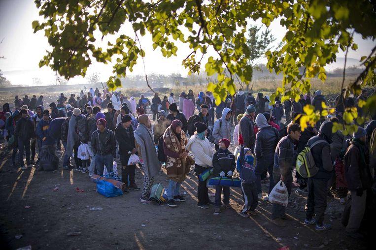 Vluchtelingen nabij de Grieks-Macedonische grens. Beeld afp