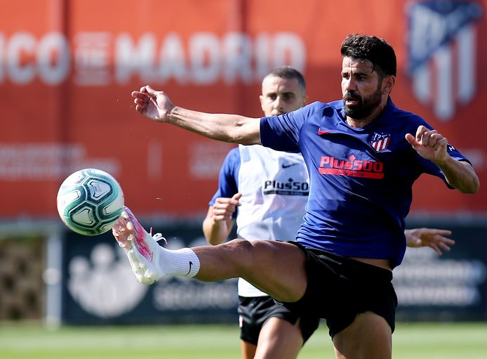 Diego Costa op de training bij Atletico Madrid.