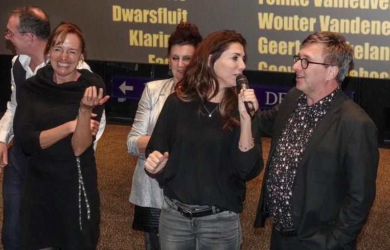 Televisiepresentatrice Evy Gruyaert interviewde de cast in de filmzalen.