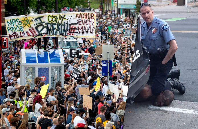 Demonstranten kwamen bij elkaar voor gerechtigheid voor George Floyd.