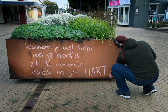 'Lies Drecht' fleurt sinds begin deze maand de plantenbakken op de Kerkbuurt op met spreuken. Met deze actie wil ze onder meer Sliedrecht een beetje mooier maken.