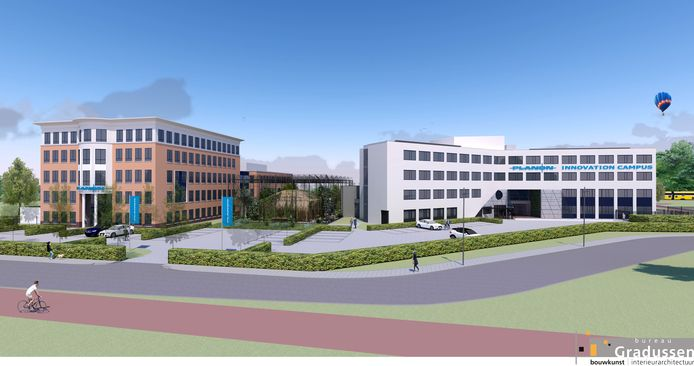 Impressie van de Planon Innovation Campus, met de kas in het midden.