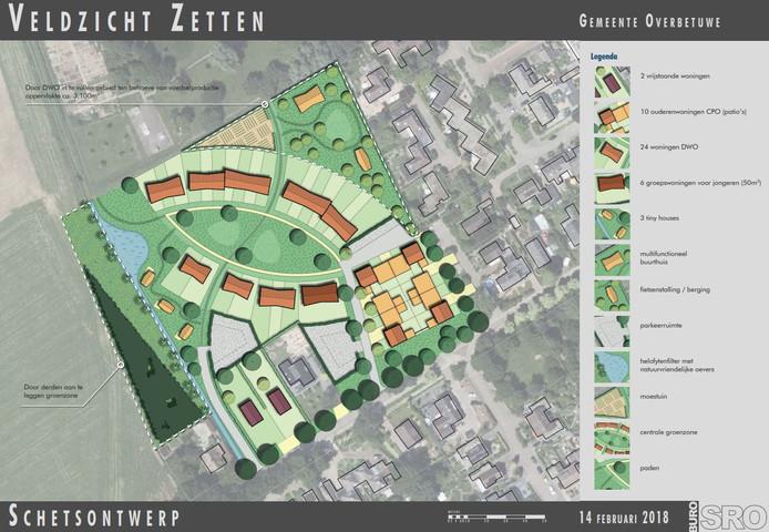 Het (voorlopig) schetsontwerp voor de nieuwe woonwijk in Zetten