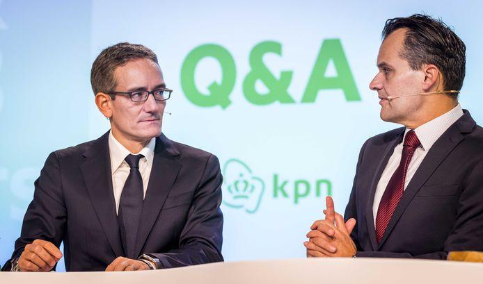 Bestuursvoorzitter Maximo Ibarra en financieel directeur Jan Kees de Jager tijdens de presentatie van de KPN-jaarcijfers donderdagmorgen.