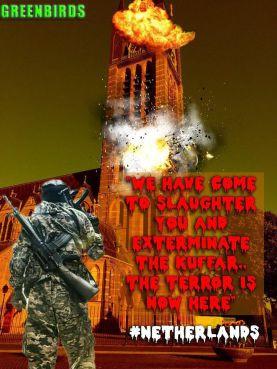 Het Pamflet dat IS-groepering GreenB1rds verspreide. Op de bewerkte foto staat de Sint Vituskerk in brand.
