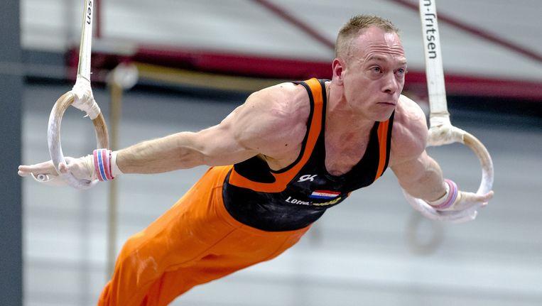 Yuri van Gelder op het onderdeel ringen tijdens de turninterland tussen Nederland en Spanje, 5 maart 2016. Beeld anp