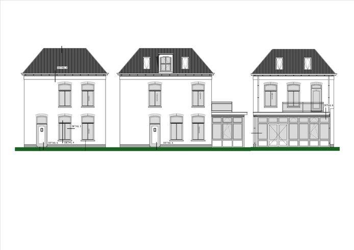 Het uiterlijk van de nieuwe 'stadsvilla' is vrijwel gelijk aan die van het bestaande pand, dat wordt gesloopt.