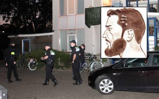 Een huiszoeking in een appartement van een van de aangehouden verdachten in Vlaardingen. Inzet: Hardi N.