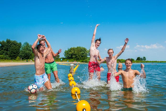 Een groep jongeren duikt de plas in. 'Blauwalg? Dat is toch elk jaar?'