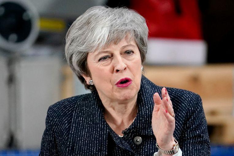 Brits premier Theresa May tijdens haar speech vandaag in Grimsby.