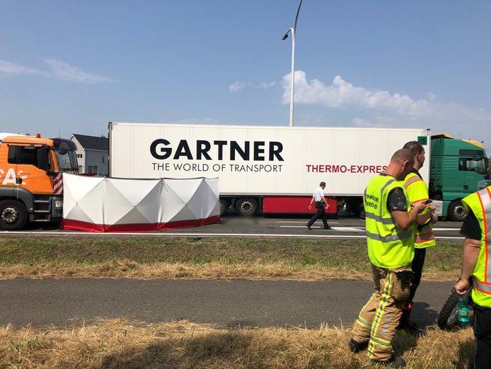De auto reed frontaal in op een vrachtwagen. De bestuurder overleefde het ongeval niet