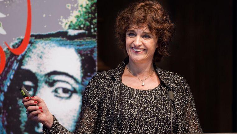 Communicatiewetenschapper Patti Valkenburg tijdens de uitreiking van de Spinozapremie. Zij ontving de prijs in 2011 Beeld anp