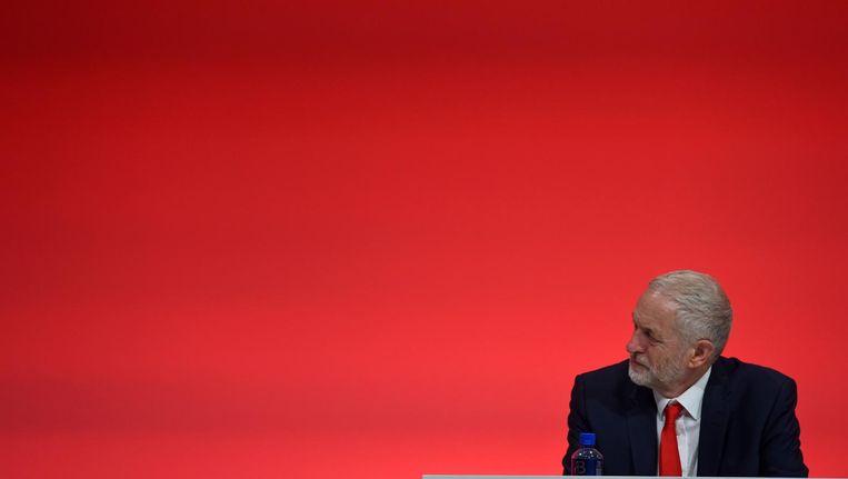 Jeremy Corbyn op de eerste dag van de jaarlijkse Labour-bijeenkomst in Liverpool. Beeld afp