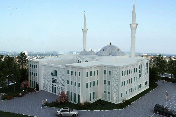 Beeld van de toekomstige moskee in het Bellavistagebied.