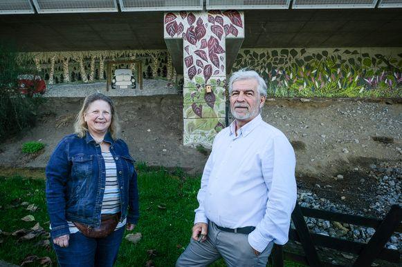 Hobbyschilders Monique De Cooman en Raf Nagels besteedden honderden uren aan de creatie van de muurschildering op een geluidsmuur in Hoeilaart. Maar het resultaat mag gezien worden.