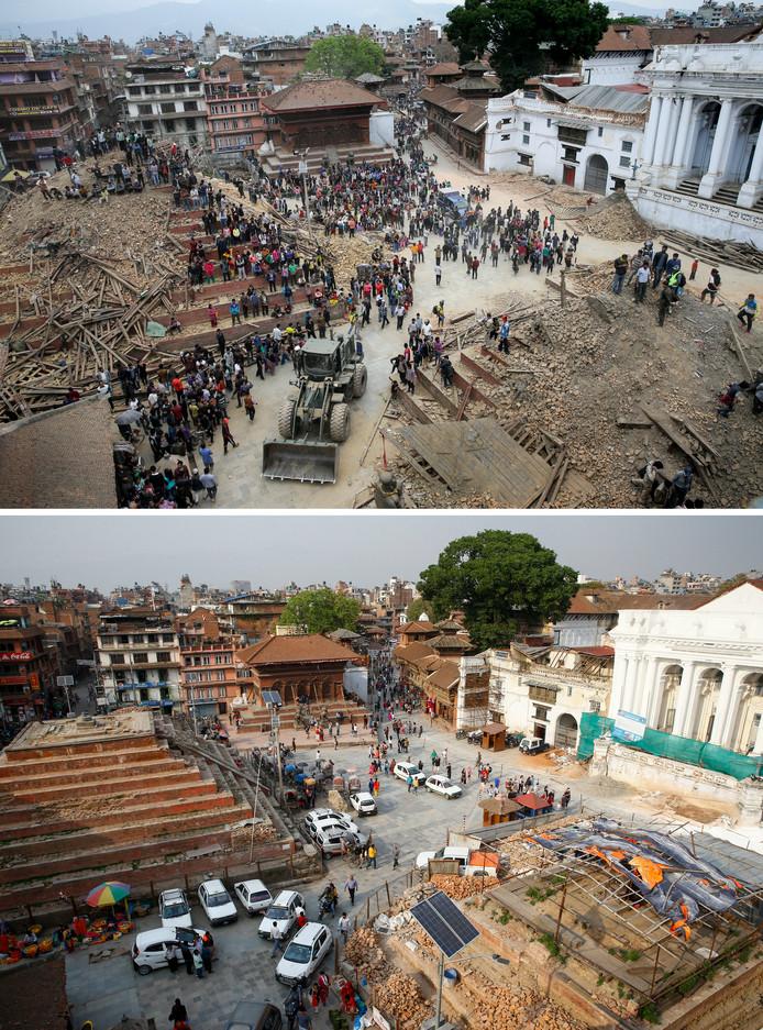 Het plein voor een van de koninklijke paleizen in Kathmandu, nog lang niet hersteld.