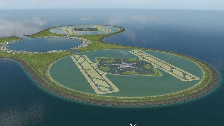 Impressie van een luchthaven in zee, uit een toekomstvisie van Royal HaskoningDHV en Van Oord uit 2008. Beeld Royal HaskoningDHV