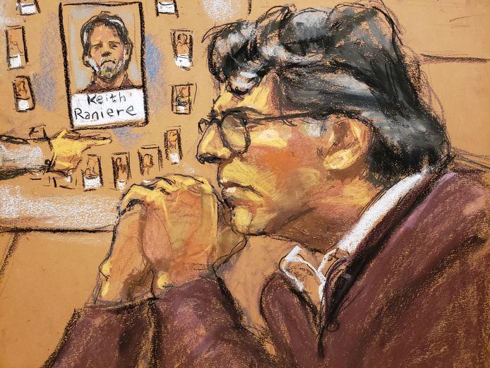 Keith Raniere in het New Yorkse gerechtsgebouw.