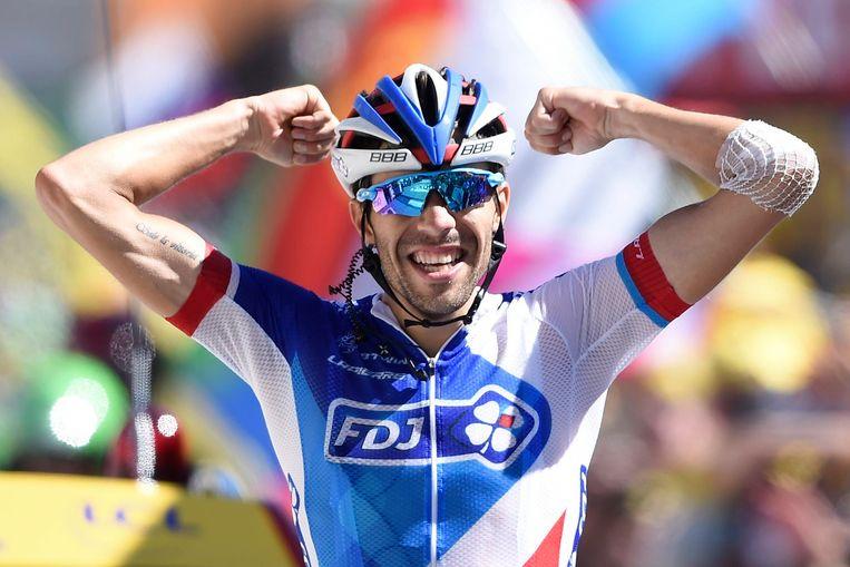 Thibaut Pinot, de laatste winnaar op de Alp in 2015.
