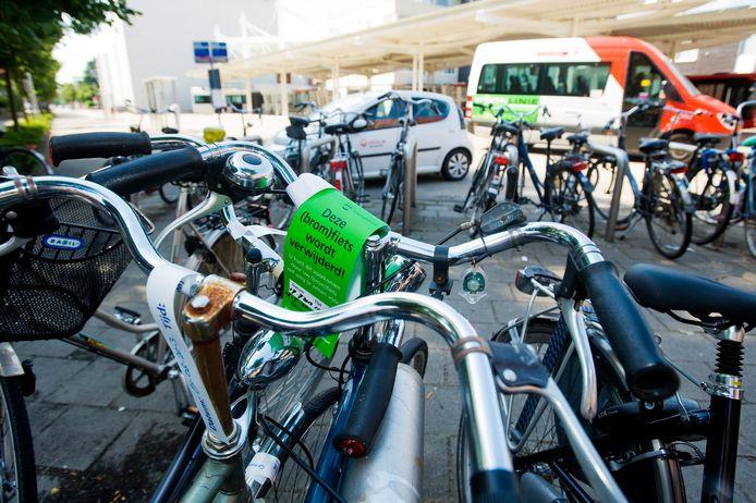 Waalwijk labelde en verwijderde al eerder fietsen die wel erg lang in de stalling bij het Vredesplein staan. © Jeroen de Jong.