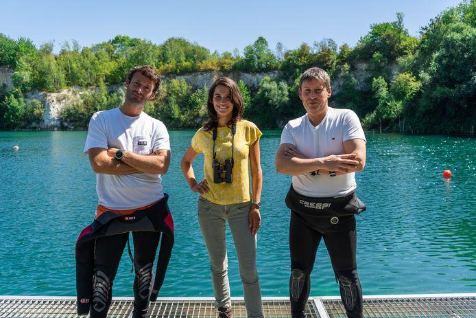 L'aventurier Thomas De Dorlodot, l'experte en nature Virginie Hess et le réalisateur Jean-Christophe Grignard.
