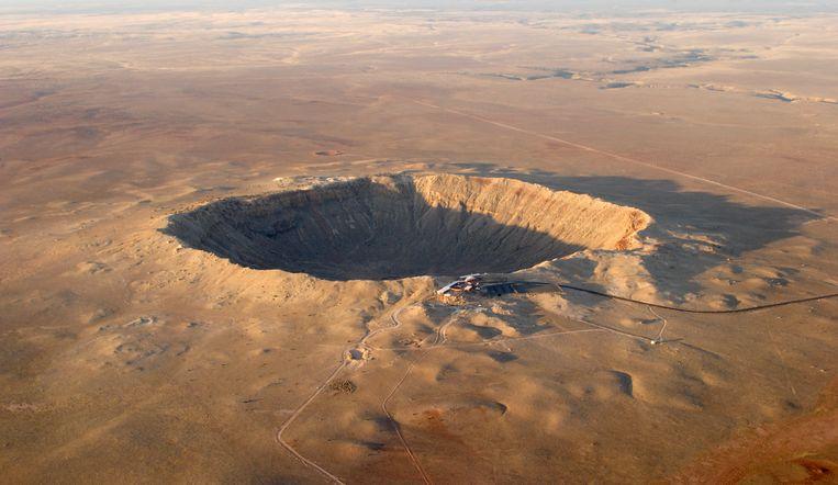 Luchtfoto van een krater in de Amerikaanse staat Arizona.  Beeld Getty Images