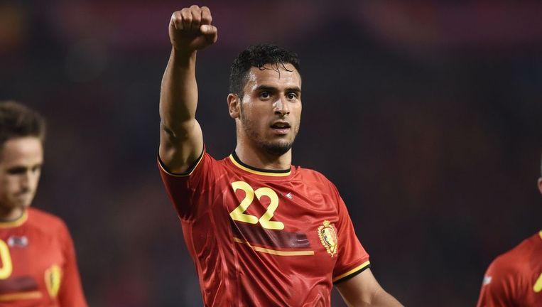 De Belgische middenvelder Nacer Chadli, vorige maand tijdens een oefenwedstrijd. Beeld afp