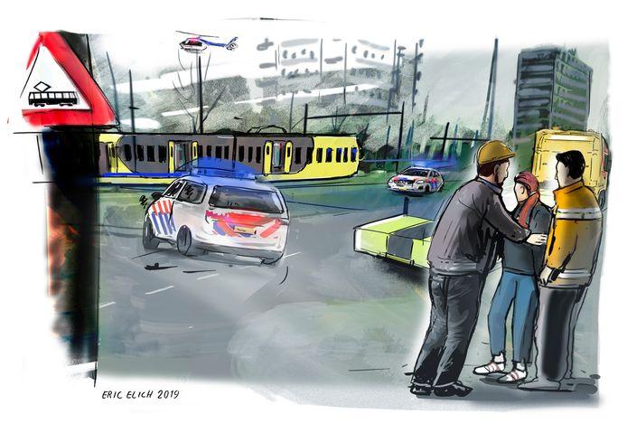 De aanslag in de tram op het 24 Oktoberplein, geïllustreerd door Eric Elich.