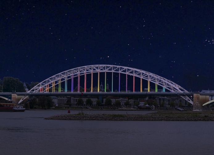 De vernieuwde Waalbrug kan bij bijzondere gelegenheden worden verlicht in specifieke kleuren.
