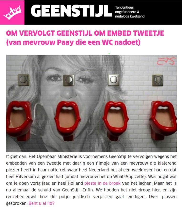 Schermafbeelding van de melding op GeenStijl.nl.