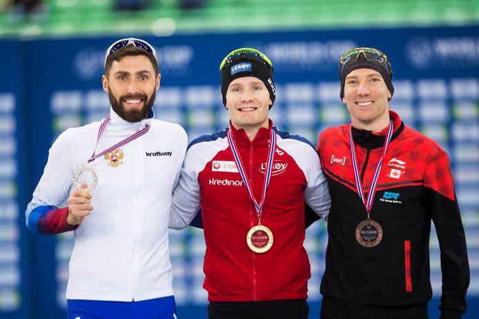 Alexander Rumyantsev (RUS), Sverre Lunde Pedersen (NOR) en Ted-Jan Bloemen (CAN).