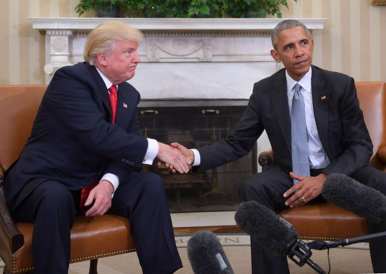 Donald Trump en Barack Obama tijdens een transitiemeeting toen Obama nog president was.
