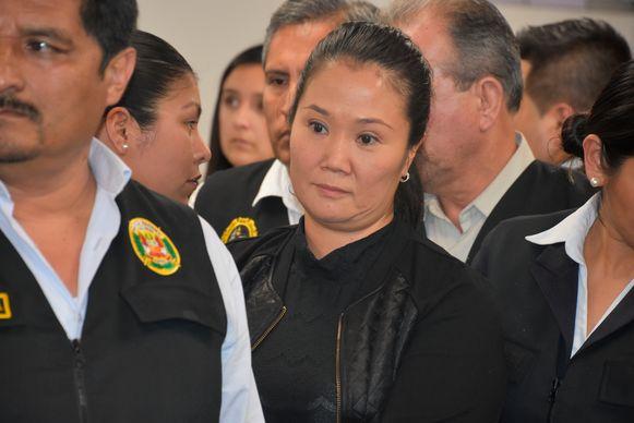 Keiko Fujimori in de rechtbank. Archiefbeeld.