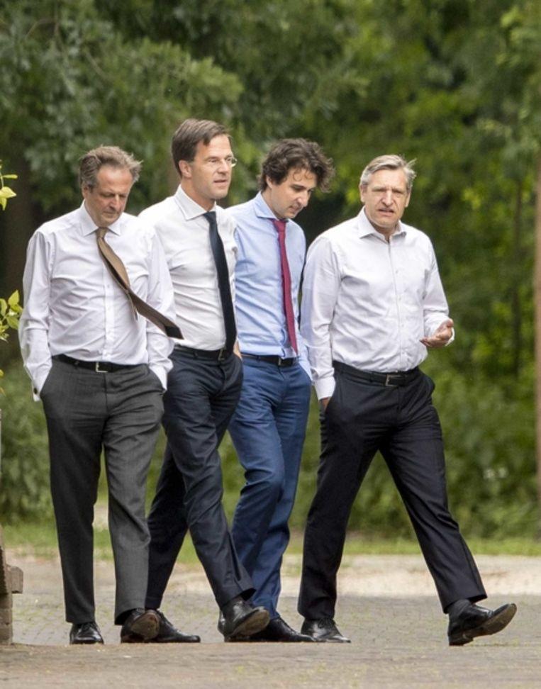 VLNR Alexander Pechtold, Mark Rutte, Jesse Klaver en Sybrand Buma.  Beeld ANP