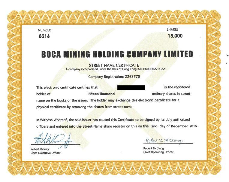 Het 'bewijs' dat Berend van Rijssen 15 duizend aandelen Boca Mining Corporation heeft gekocht. Beeld